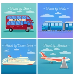 Travel Banner Tourism Industry Transportation Set vector image