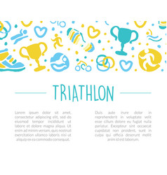 triathlon banner with space for text sports event vector image