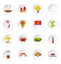 Vietnam icons set flat style vector image