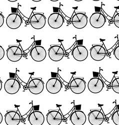 Vintage black bicycles seamless pattern black and vector image