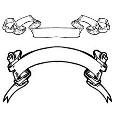 Vintage ribbon banners hand drawn set vector image