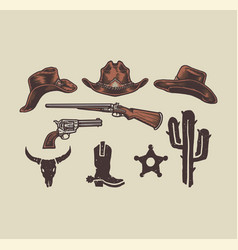 wild west cowboy objects vector image