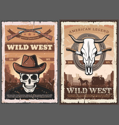 Wild west skull in cowboy hat american western vector