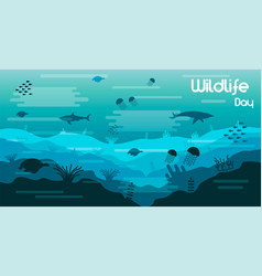 wildlife day card of sea animals in coral reef vector image