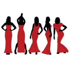 Women wearing colorful dresses vector