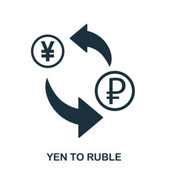 yen to ruble icon mobile app printing web site vector image