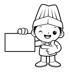 black and white funny chef mascot is promoting a vector image