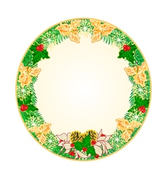 Button circular Christmas Spruce with holly vector image vector image