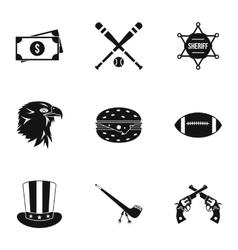 Country usa icons set simple style vector