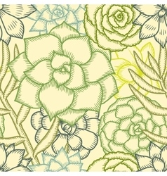 Hand drawn succulents seamless pattern vector image vector image