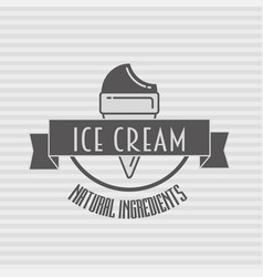 ice cream vintage retro label badge or logo vector image vector image