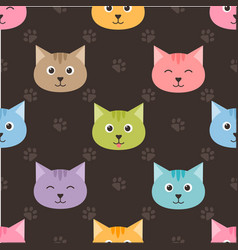 seamless pattern with cartoon cats and footprints vector image vector image