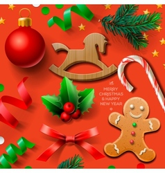 Set of Christmas element vector image vector image
