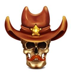 Sheriff Skull In Cowboy Hat vector image
