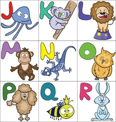 Alphabet with cartoon animals 2 vector image