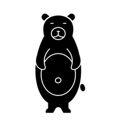 bear cute icon black sign on vector image