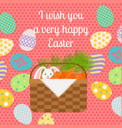 happy easter pink vertical greeting card vector image vector image