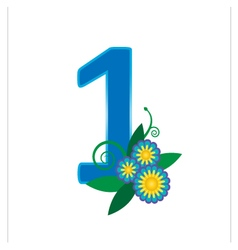 Number one with floral vector image vector image