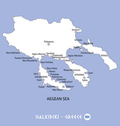peninsula of halkidiki in greece white map and vector image