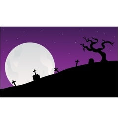 Silhouette of graveyard scary halloween vector image vector image