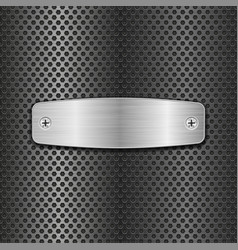 steel plate with screws on metal perforated vector image