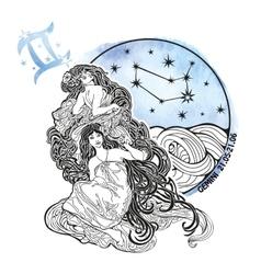 Gemini girls zodiac signHoroscope circle vector image