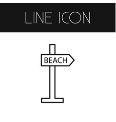 isolated beach outline signpost element vector image vector image