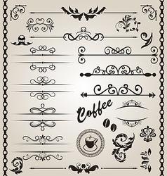 Set floral ornate design elements 7 vector image vector image