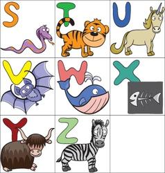 Alphabet with cartoon animals 3 vector image