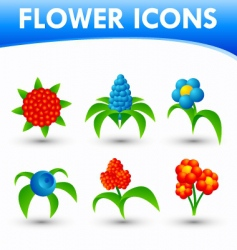 flower icons vector image vector image