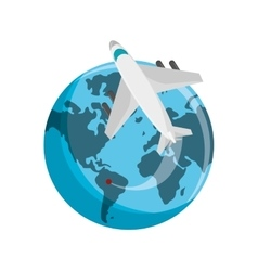 Isolated airplane vehicle and planet design vector