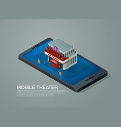 mobile phone ticket reservation cinema theater vector image