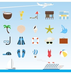 Set of flat travel and tourism icons vector image