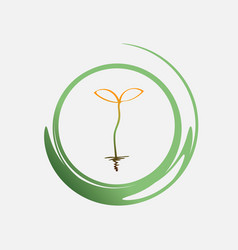 young green sprout drawing with one line vector image