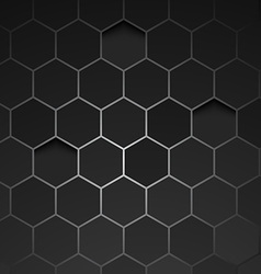 Abstract black background hexagon vector image