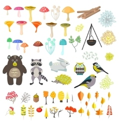Animals and nature clipart objects vector image
