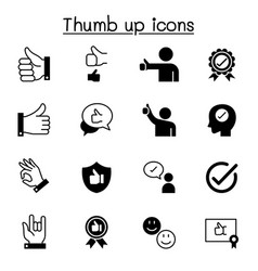 approved thumb up icons set graphic design vector image