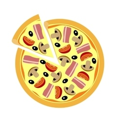 Assorted pizza with mushrooms tomatoes olives vector