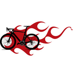Bicycle with flame and fire vector