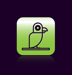 Black line pirate parrot icon isolated on black vector