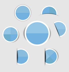 blue paper circle stickers with shadows vector image