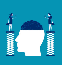 Brain research business team closer inspection vector