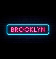 Brooklyn neon sign bright light signboard vector