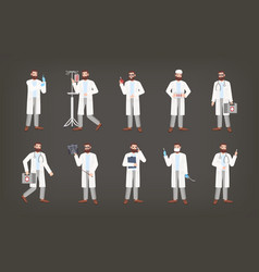 bundle of male doctor physician or surgeon vector image
