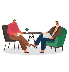 Business meeting partners in coffee shop vector