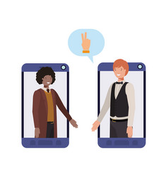 businessmen in smartphone with speech bubble vector image