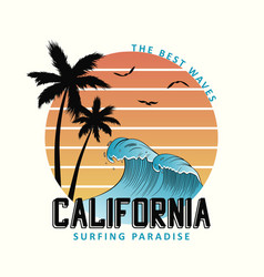 california slogan for t-shirt typography with vector image