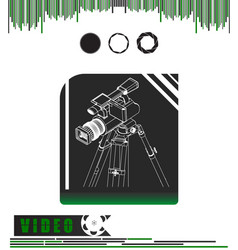 Camera with tripod on a black and green vector