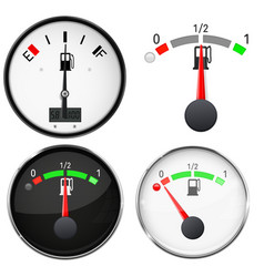 Car dashboard gauges fuel level scales 3d vector