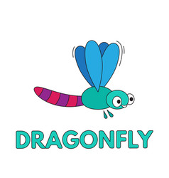Cartoon dragonfly flashcard for children vector